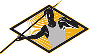 Athlete Digital Art - Track and Field Athlete Javelin Throw Retro by Aloysius Patrimonio