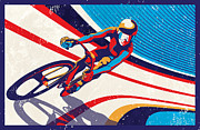 Cycling Art Paintings - Track Cyclist by Sassan Filsoof