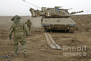 Battletank Prints - Track Replacement On A Israel Defense Print by Ofer Zidon
