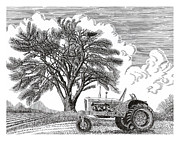 Note Cards Drawings Prints - Tractor and Cottonwood tree Print by Jack Pumphrey