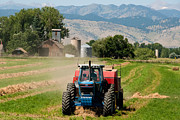 Haying Photos - Tractor Baling Crop Residue along the Front Range near Longmont Colorado by Robert Ford