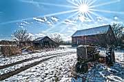 Farm Life Framed Prints Prints - Tractor Farm Winter blues Print by Randall Branham