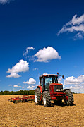 Trailer Posters - Tractor in plowed field Poster by Elena Elisseeva