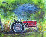 Old Tractors Paintings - Tractor in the Pasture by Reba Brew