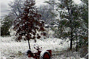 Winter Scenes Mixed Media Prints - Tractor In The Snow Print by Dennis Buckman