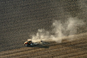 Agronomy Photos - Tractor Ploughing, Chavagnes En Paillers by Laurent Salomon