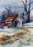 Shed Painting Posters - Tractor Shed in Winter ACEO Poster by Virginia Potter
