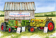 Oliver Tractor Framed Prints - Tractor Show-Old Time Threshers Reunion Framed Print by Larry Johnson