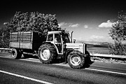 Bringing Framed Prints - Tractor Towing Trailer Of Cut Dried Turf For Winter Fuel County Mayo Republic Of Ireland Framed Print by Joe Fox