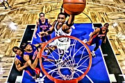 Dunking Photo Framed Prints - Tracy McGrady Painting Framed Print by Florian Rodarte