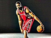 Dunking Prints - Tracy McGrady Portrait Print by Florian Rodarte