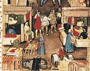 Middle Ages Prints - Trade Statutes. Fabric Market Print by Everett