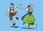 Traditional Bavarian Couple Dancing Print by Frank Ramspott