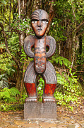 Auckland Prints - Traditional Carved Figure Waitakere New Zealand Print by Colin and Linda McKie
