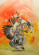 American Eagle Paintings - Traditional Dancer by Todd Derr