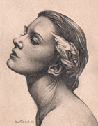 Dove Drawings Prints - Traditional female portrait drawn study Print by Brent Schreiber