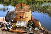 Net Photo Metal Prints - Traditional fly-fishing rod with equipment  Metal Print by Sandra Cunningham