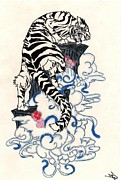 Awesome Drawings Originals - Traditional Japanese Style Tiger by Crisol Campos