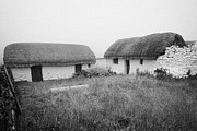 White Walls Metal Prints - traditional manx thatched cottages houses dwelling cregneash village IOM Metal Print by Joe Fox
