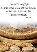 Loaf Of Bread Photo Prints - Traditional Old-Fashioned Bread and Bible Verse Print by Yali Shi