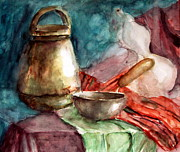 Rustic Ceramics Metal Prints - Traditional Still Life Metal Print by Biliana Desheva