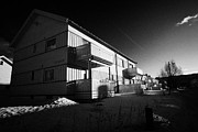 Apartment Houses Prints - Traditional Wooden Apartment Houses Kirkenes Finnmark Norway Europe Print by Joe Fox