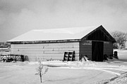 traditional wooden plank barn in rural village Forget Saskatchewan Canada Print by Joe Fox