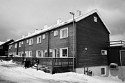Honningsvag Prints - traditional wooden terraced houses in turngata Honningsvag finnmark norway europe Print by Joe Fox