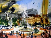 Trafalgar Paintings - Trafalgar Squares fountains painting by Eraclis Aristidou