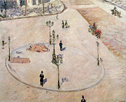 Refuge Painting Prints - Traffic Island on Boulevard Haussmann Print by Gustave Caillebotte