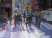 Crowd Scene Paintings - Traffic Light by Kris Parins