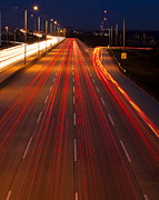 Light Trails Framed Prints - Traffic Trails at Twilight Framed Print by Andrew Soundarajan