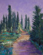 Green Grass Pastels Posters - Trail in the Cascades Poster by David Patterson
