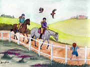 Sports Drawings - Trail Ride by Burcu Alisan