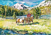 Original Cowboy Paintings - Trail Rider by Claire Viger