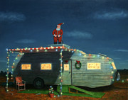 Christmas Card Painting Metal Prints - Trailer House Christmas Metal Print by James W Johnson