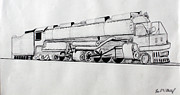 Pen And Ink Drawing Prints - Train 4 8 8 4 Print by Fred Miller