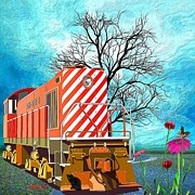 Train - All Aboard - Transportation Print by Liane Wright