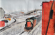 Long Street Paintings - Train and Brick Wall at Linden Street with San Francisco and Overpass by Asha Carolyn Young