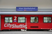 Shuttle Tiles Prints - Train at Vienna railway station  Print by Imran Ahmed