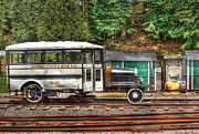 White Truck Framed Prints - Train - Car - The Rail Bus Framed Print by Mike Savad