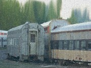 Kansas City Mixed Media Metal Prints - Train Cars Metal Print by Dennis Buckman