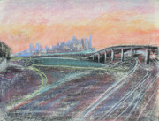 Skylines Pastels Posters - Train Coming at Sunset in West Oakland Poster by Asha Carolyn Young