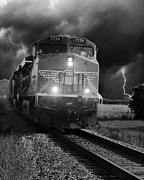 Storm Prints Digital Art Framed Prints - Train coming down the tracks in a storm  Framed Print by Amy Denson