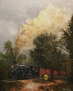 Wisconsin Paintings - Train Crossing Soo Line 1003 by Tom Shropshire