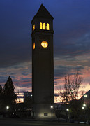 Spokane Framed Prints - Train Depot Clock Tower - Spokane Framed Print by Daniel Hagerman