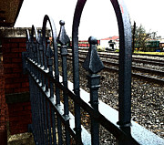 Photographs Pastels Acrylic Prints - Train Depot Iron Fence Acrylic Print by Gary Perron