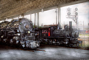 Man Photo Prints - Train - Engine - 1218 - End of the line  Print by Mike Savad
