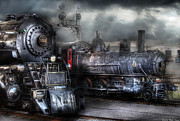Storm  Light Posters - Train - Engine - 1218 - Waiting for Departure Poster by Mike Savad