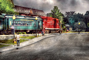 Cloudy Prints - Train - Engine - Black River Western Print by Mike Savad